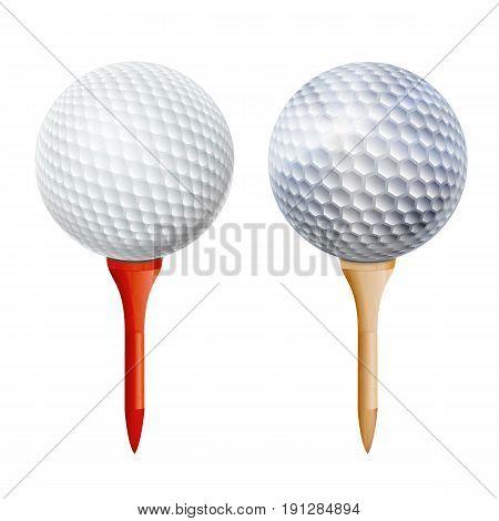 Golf Ball On White Tee. Vector Realistic Illustration