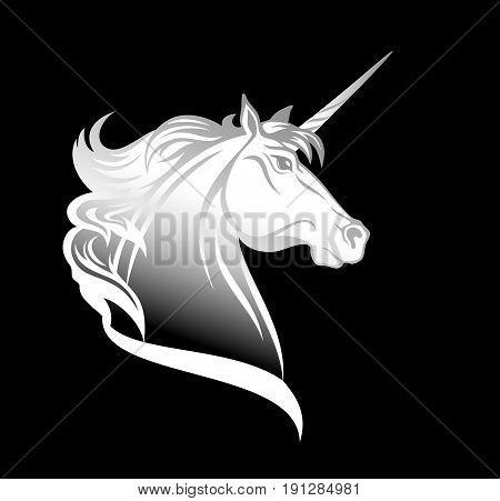 white unicorn horse head - animal profile vector design