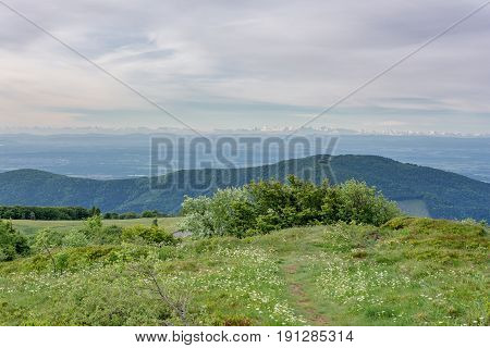 French countryside - Vosges. Panoramic view to a valley in the Vosges. In the background you can admire the Alps.