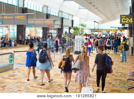 Arrival Hall At Changi Airport