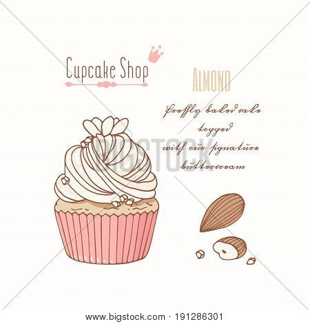 Hand drawn cupcake with doodle buttercream for pastry shop menu. Almond flavor. Vector illustration