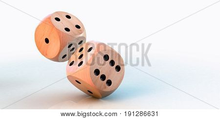 Rolling down two dice on a white background
