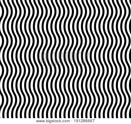 Wavy Lines Seamless Vector Abstract Background. Black And White Wavy Lines Abstract