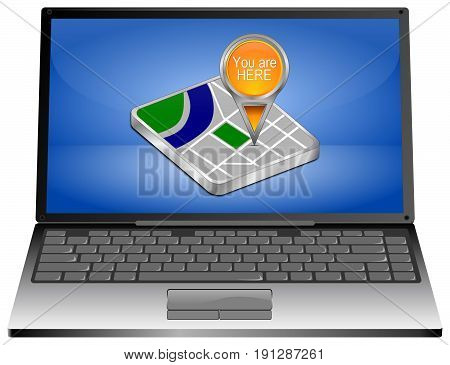 Laptop Computer with You are Here Map Pointer on blue desktop - 3D illustration