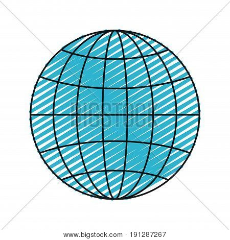 color crayon silhouette front view globe earth world chart with lines vector illustration
