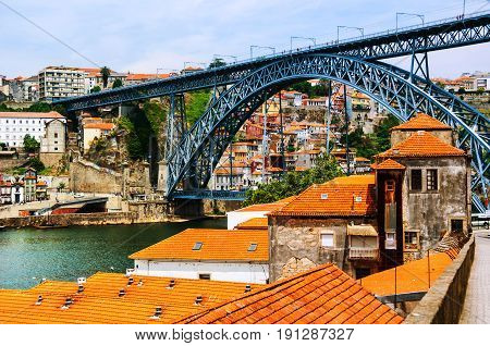 Porto Portugal. The Luis I arch metallic bridge over Douro River in Porto Portugal. It's architectural style resembles the one of the Eiffel Tower