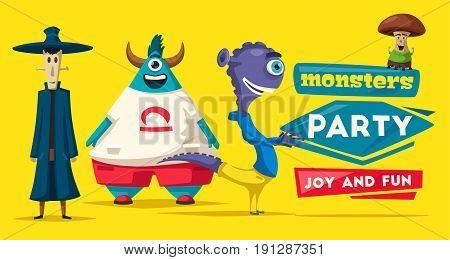 Funny monsters. Cartoon vector illustration. Alien character. Friendly person. Imagination bright mutants