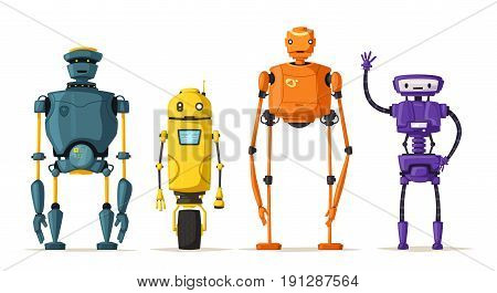Robot character. Technology, future. Cartoon vector illustration. Vintage style Evolution of technologies