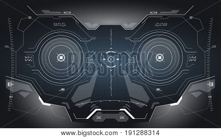 Futuristic concept ui for helmet. Head-up display template. View from the helmet with HUD elements