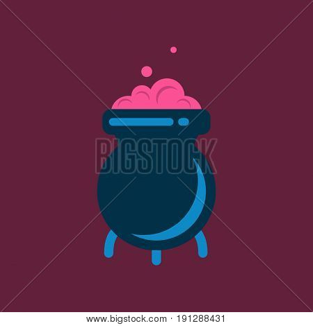 flat icon on stylish background cauldron witches potion