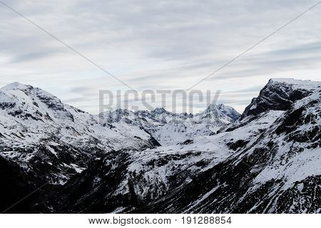 Panoramic view of a range of mountains
