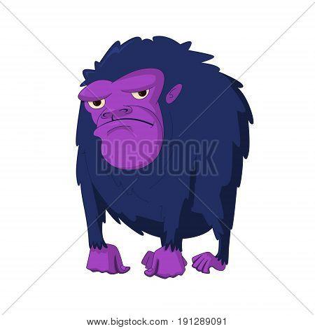 vector illustration of  angry gorilla cartoon character