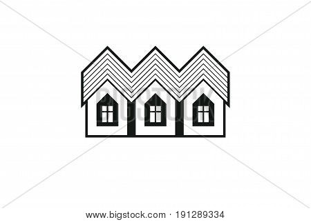 Simple Monochrome Cottages Vector Illustration, Black And White Country Houses, For Use In Graphic D