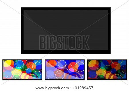 A flat-screen TV. The modern design. Set. Vector illustration.