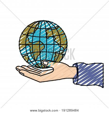 color crayon silhouette hand palm giving a earth globe world charity symbol vector illustration