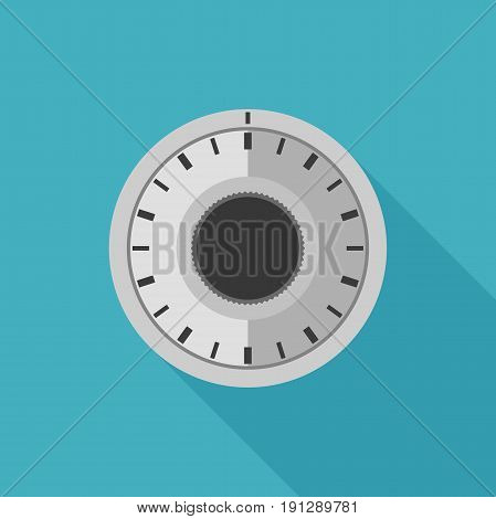 Safe lock in flat style. Vector simple illustration of combination lock with long shadow.