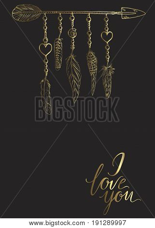 Golden luxury Boho elements. Vector illustration with feathers arrow and chains. The words I love you. Ornamental bird feathers isolated