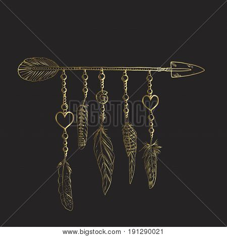 Golden luxury Boho elements. Vector illustration with feathers arrow and chains. Ornamental bird feathers isolated on black. Black and gold