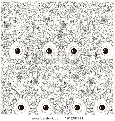 Seamless floral with owls monochrome pattern stock vector illustration