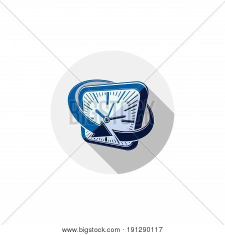 24 hours-a-day interface icon 3d clock. Time is running out idea symbol isolated on white for use in advertising.