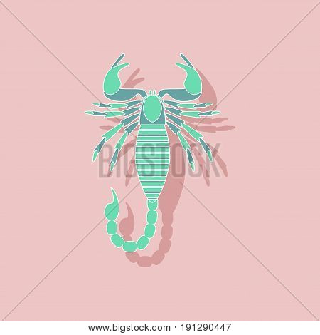 paper sticker on stylish background of Scorpio