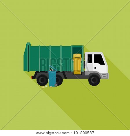 Garbage truck with long shadow. Vector flat Banner with garbage truck and dumpsters.