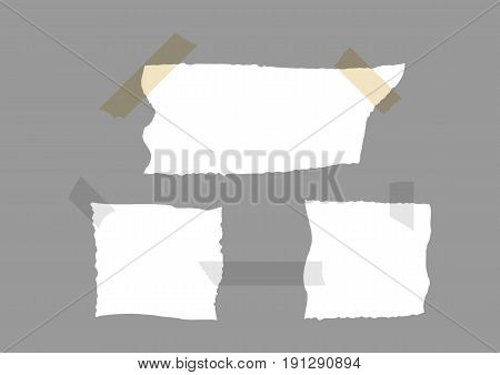 Set of torn paper with pieces of adhesive tape. Vector illustration. White gray brown.