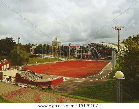Summer amphitheater in Vitebsk, Belarus. Amphitheater is traditional scenic platform for popular festival Slavic Bazaar - september 2016