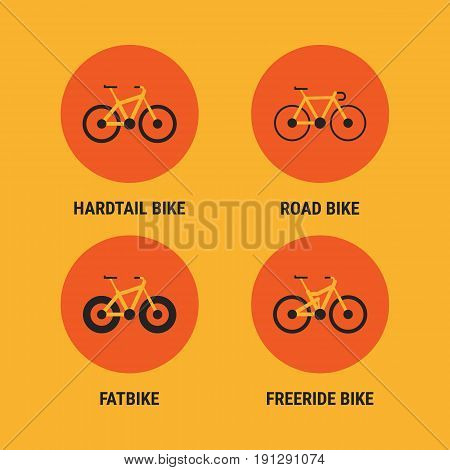 Icons Different Bicycle Bikes Option 2