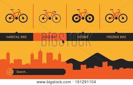 Site Header Different Bicycle Bikes Search Orange Yellow Black Color