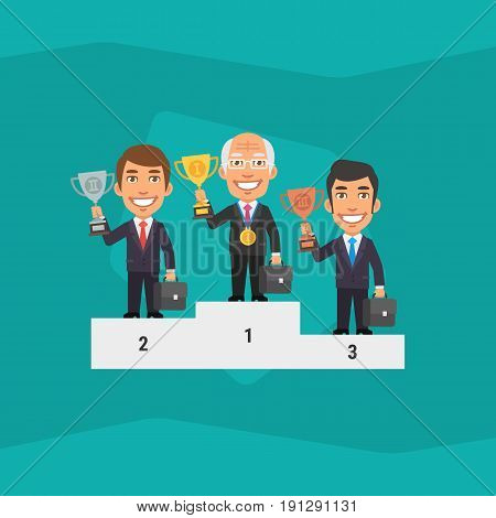Three Businessman Standing On Pedestal And Holding Cup