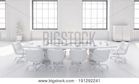 White Modern Meeting Room With Table And Chairs
