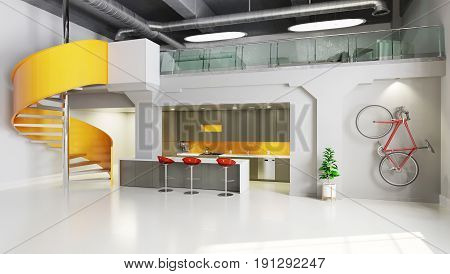 Office Space With Kitchen Area And Spiral Stairs