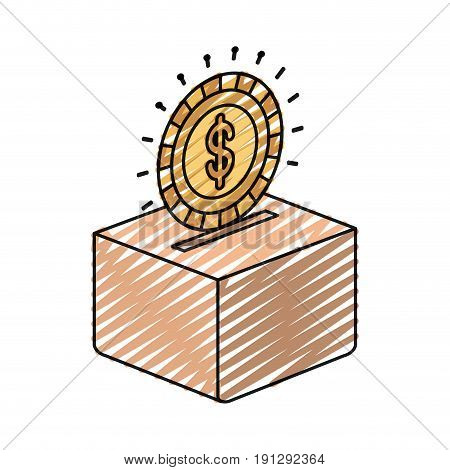 color crayon silhouette flat coin with dollar symbol depositing in a carton box vector illustration