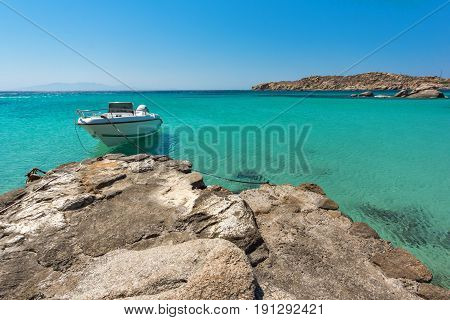 Clear waters of Paranga Beach on the island of Mykonos, Cyclades, Greece