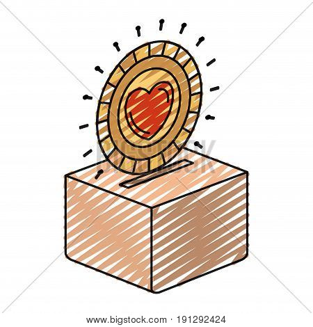color crayon silhouette flat coin with heart symbol inside depositing in a carton box vector illustration