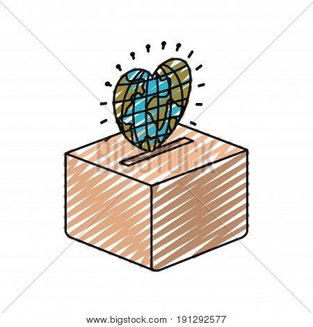 color crayon silhouette flat globe earth world in heart shape depositing in a carton box vector illustration