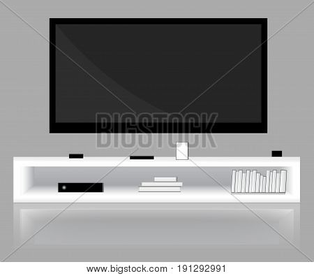 Modern bright room with flat-screen TV low shelf. Graphic template. Mock up. Vector illustration.