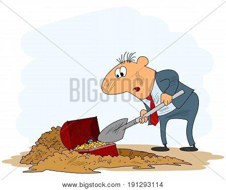 Vector illustration of a businessman digging a treasure
