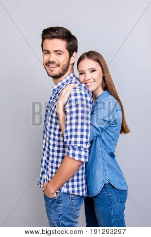 Profile Photo Of Two Young Cute Lovers, Pretty Lady Is Hugging Gently Her Boyfriend From The Back, H