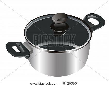 Saucepan realistic design. Cookware metal. Vector illustration.