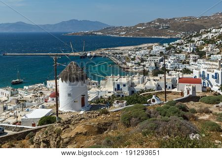 Panoramic view of white windmill and island of Mykonos, Cyclades, Greece