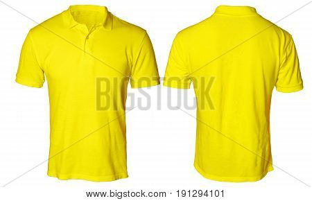 Blank polo shirt mock up template front and back view isolated on white plain yellow t-shirt mockup. Polo tee design presentation for print.