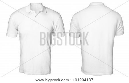 Blank polo shirt mock up template front and back view isolated on white plain t-shirt mockup. Polo tee design presentation for print.