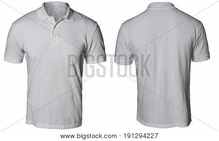 Blank polo shirt mock up template front and back view isolated on white plain gray t-shirt mockup. Polo tee design presentation for print.