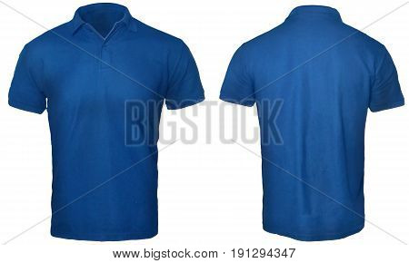 Blank polo shirt mock up template front and back view isolated on white plain blue t-shirt mockup. Polo tee design presentation for print.