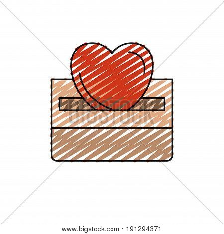 color crayon silhouette front view flat heart depositing in a carton box vector illustration
