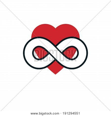 Love Forever conceptual sign vector symbol created with infinity loop sign and heart.
