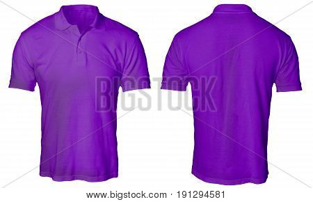 Blank polo shirt mock up template front and back view isolated on white plain purple t-shirt mockup. Polo tee design presentation for print.