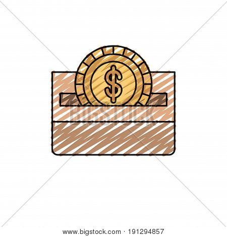 color crayon silhouette front view flat coin with dollar symbol depositing in a carton box vector illustration